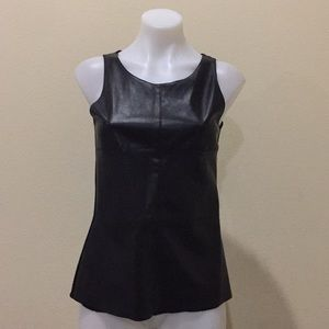 Tops - Black faux leather sleeveless top
